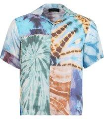patchwork tie dye short sleeve shirt