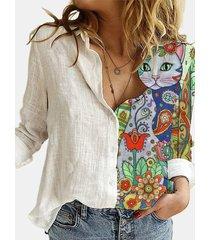 camicetta con bottoni a colletto con risvolto patchwork stampa gatto cartone animato