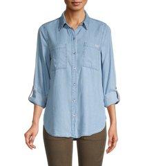 calvin klein jeans women's logo tape chambray tencel lyocell denim shirt - chambray - size s