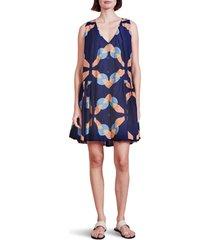 women's apiece apart rosarito drop waist cotton & silk dress, size large - blue