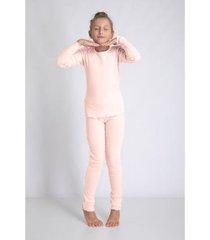 conjunto de pijama infantil acuo longo de ribana feminino
