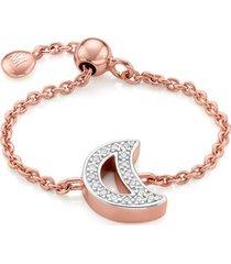 rose gold alphabet moon adjustable friendship diamond ring diamond