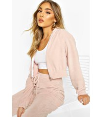 premium soft velour zip through hoodie, blush