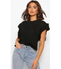 jersey shirt met geplooide mouwen, zwart