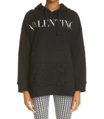women's valentino logo lace cotton hoodie, size medium - black