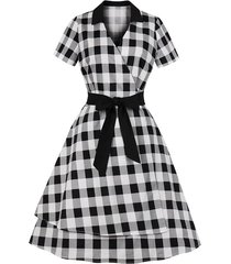 checked belted surplice dress