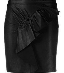 ba & sh ruffled leather mini skirt - black