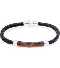 effy men's tiger's eye, sterling silver & leather braided bracelet