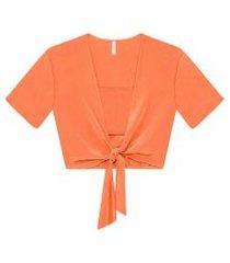 lez a lez - blusa cropped amarração top laranja japha