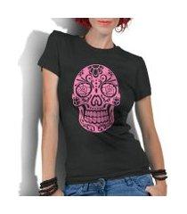 camiseta criativa urbana caveira mexicana rosa