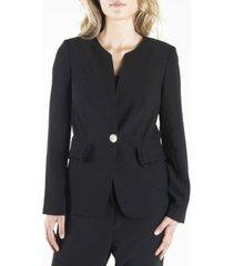 nanette nanette lepore long sleeve single breasted blazer with ruffled flap pockets