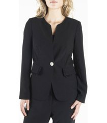 nanette nanette lepore long sleeve single breasted blazer with ruffled flap pockets