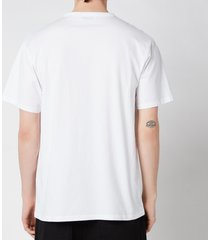 maison kitsuné men's tricolor fox patch classic pocket t-shirt - white - l