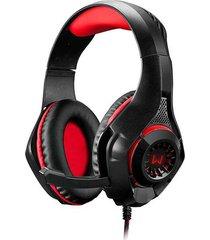 headset gamer warrior preto e vermelho com led ph219