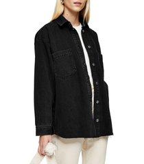 women's topshop denim shirt jacket, size 14 us