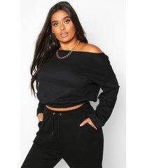plus basic drop shoulder sweater met boothals, zwart