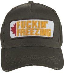 military green baseball cap with fuckin frezing patch