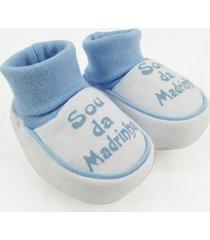 pantufa bebê masculina suedine sou da madrinha azul claro