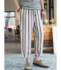 hombres verano pierna ancha rayas media cintura casual pantalones