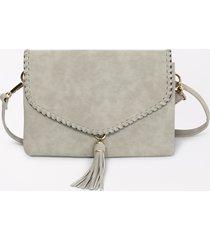 maurices womens light gray braided trim crossbody bag