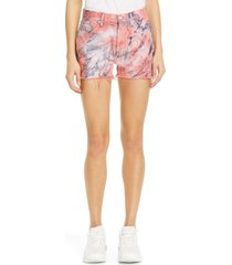 women's john elliott brady spin art tie dye high waist cutoff denim shorts