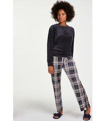 hunkemöller pyjamasset i sammet grå