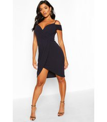 cold shoulder wrap midi dress, navy