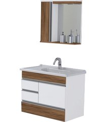 conjunto de banheiro rorato modena, nogal, 80 cm
