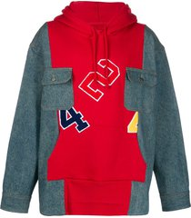 424 block colour denim hoodie - red