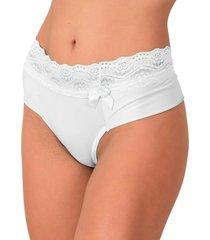 calcinha vip lingerie microfibra lisa fio duplo branco