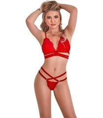 conjunto lencería top y panty en encaje ajustable dama – bésame-rojo