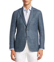saks fifth avenue men's collection textured wool, silk & linen jacket - blue - size 42 r