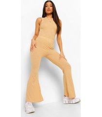 petite zachte gebreide geribbelde broek met wijd uitlopende pijpen, camel