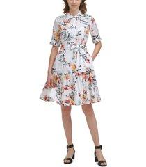 calvin klein floral-print tiered belted dress