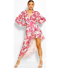 gebloemde hoge maxi-jurk met ruches aan voorzijde, roze