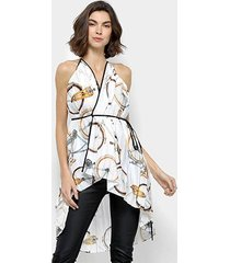 blusa forum estampada plissada feminina