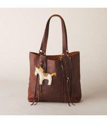 sundance catalog women's horse charm tote in mahogany
