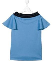 andorine ribbed stripe trim dress - blue