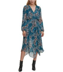 dkny printed pleated dress
