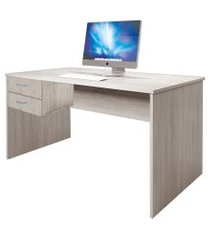 mesa 2 gavetas home office livorno madeirado bonatto cinza