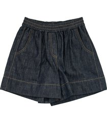 brunello cucinelli dark polished denim shorts with monili