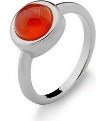 anel infantil solitário agata vermelha pedra natural di capri semi jóias x ouro branco incolor - tricae