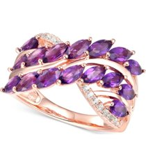 amethyst (2 ct. t.w.) & diamond (1/10 ct. t.w.) ring in 14k rose gold-plated sterling silver