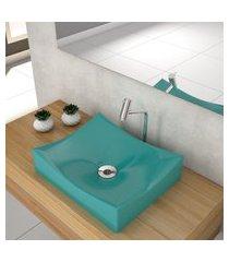 cuba de apoio p/banheiro compace milla m44w retangular azul turquesa