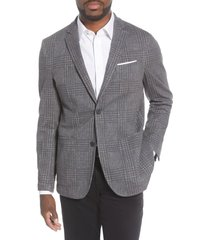 men's vince camuto slim fit crosshatch performance blazer, size xx-large - grey