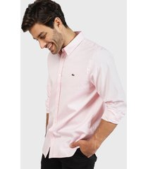 camisa lacoste woven shirts rosa - calce regular