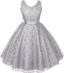silver sleeveless lace v-neck flower girl pageant birthday wedding formal dress