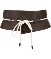 peserico textured tie front belt - brown