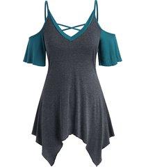 criss cross colorblock open shoulder plus size top