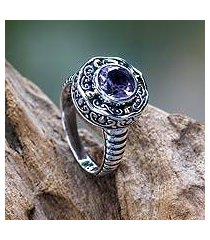 gold accented amethyst ring, 'kuta lilac' (indonesia)